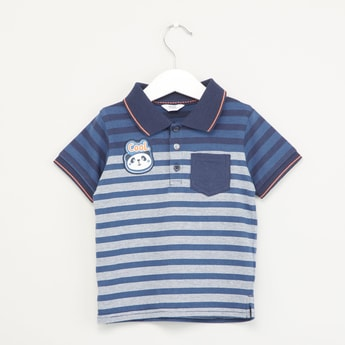 Striped Polo T-shirt with Patch Pockets