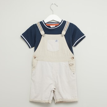 Textured Round Neck T-shirt with Pocket Detail Dungaree