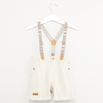 Textured Shorts with Pocket Detail and Suspenders