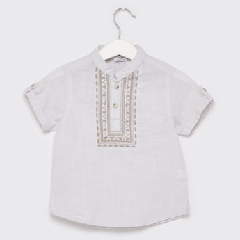 Embroidered Shirt with Mandarin Collar and Short Sleeves