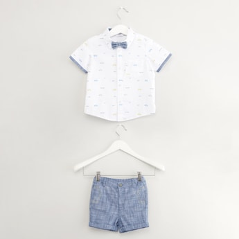 Printed Short Sleeves Shirt with Shorts