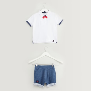 Textured Short Sleeves Polo T-shirt with Shorts