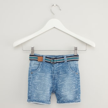 Printed Denim Shorts with Pocket Detail and Belt