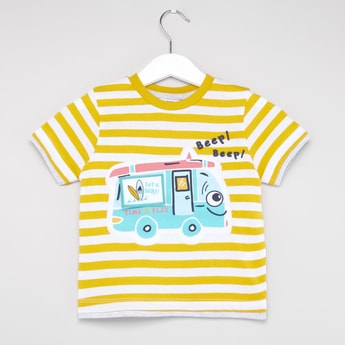 Striped T-shirt with Patch Detail and Short Sleeves