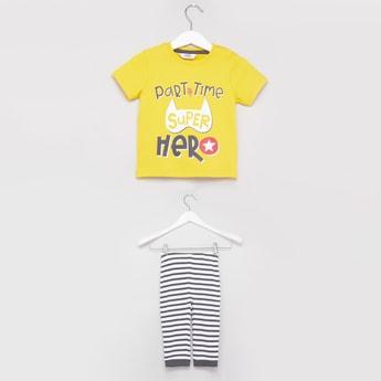 Printed Round Neck T-shirt and Striped Pyjama Set