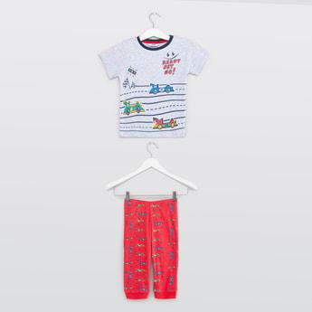 Cars Print T-shirt with Full Length Pyjamas Set