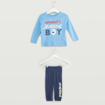 Text Print Long Sleeves T-shirt with Full Length Pyjama Sets