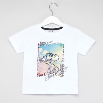 Elephant Print T-shirt with Short Sleeves