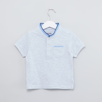 Textured T-shirt with Mandarin Collar and Short Sleeves