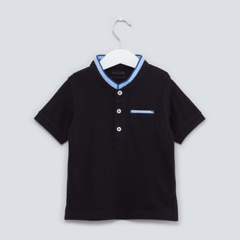 Plain T-shirt with Mandarin Collar and Short Sleeves