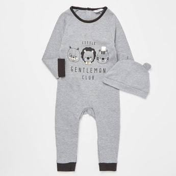 Typographic Print Long Sleeves Sleepsuit with Cap
