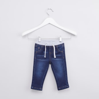 Solid 5-Pocket Jeans with Drawstring Waistband