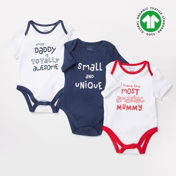 Pack of 3 - Printed GOTS Organic Cotton Bodysuits with Short Sleeves