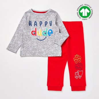 Printed GOTS Organic Cotton T-shirt and Full Length Pyjama Set