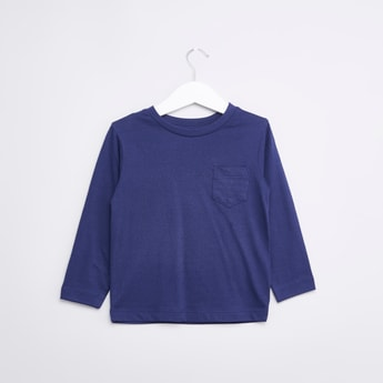 Solid Round Neck T-shirt with Long Sleeves and Pocket Detail