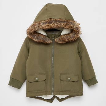 Solid Zipper Front Parka Jacket with Plush Detailed Hood