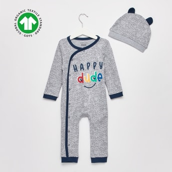 Happy Dude Print GOTS Organic Cotton Sleepsuit with Cap