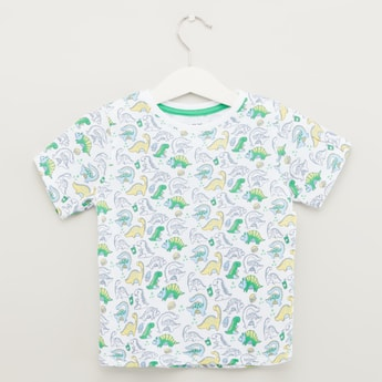 Dinosaur Print T-shirt with Short Sleeves