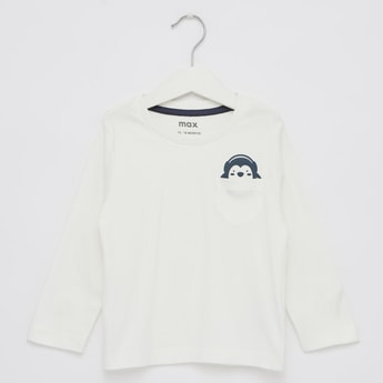 Solid T-shirt with Monkey Print and Long Sleeves