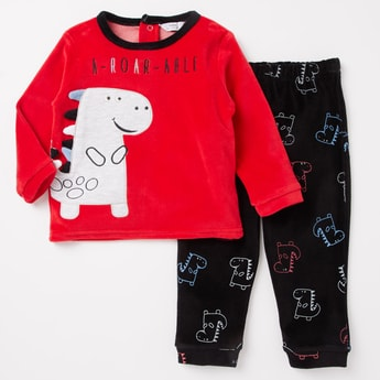 Embroidered Long Sleeves T-shirt and Pyjama Set