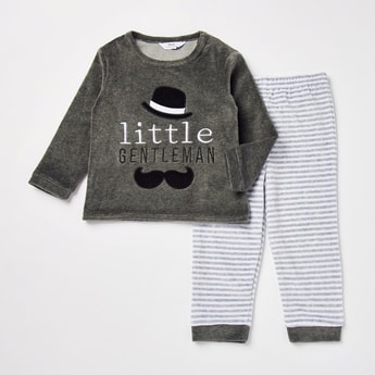 Textured Long Sleeves T-shirt and Full Length Pyjama Set