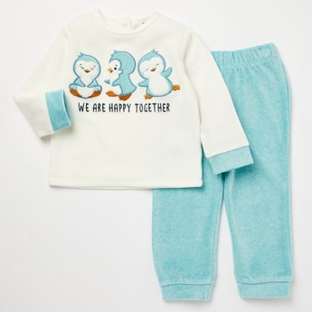 Embroidered Round Neck Sweatshirt and Full Length Joggers Set