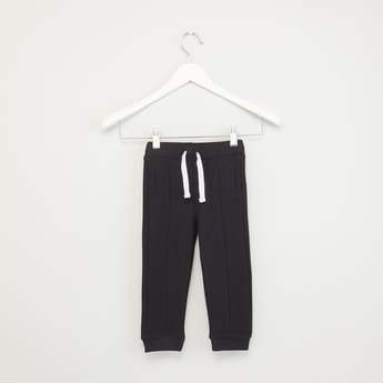 Full Length Plain Jog Pants with Pocket Detail and Drawstrings