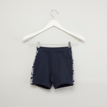 Side Tape Printed Shorts with Elasticised Waistband