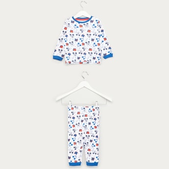 Mickey Mouse Printed Long Sleeves T-shirt with Full Length Jog Pants