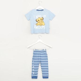 Printed Round Neck T-shirt and Striped Pyjamas