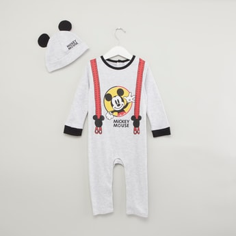 Mickey Mouse Printed Sleepsuit with Cap