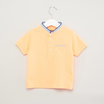 Textured T-shirt with Mandarin Neck and Short Sleeves