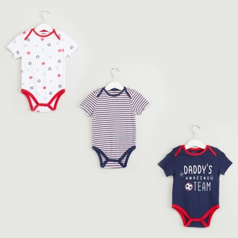 Set of 3 - Soccer Print Round Neck Bodysuit