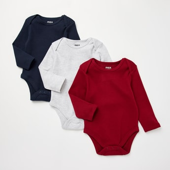 Set of 3 - Textured Bodysuit with Round Neck and Long Sleeves