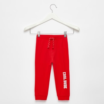 Text Print Jog Pants with Pocket Detail and Drawstring Closure