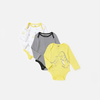 Set of 3 - Printed Round Neck Bodysuit with Long Sleeves