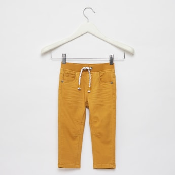 Full Length Solid Jeans with Pocket Detail and Drawstring Closure