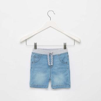 Textured Denim Shorts with Pockets and Drawstring Closure