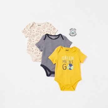 Pack of 3 - Assorted Bodysuits with Short Sleeves and Button Closure