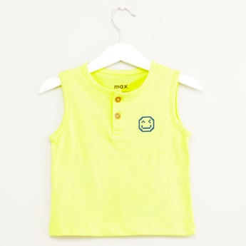 Solid Sleeveless T-shirt with Henley Neck