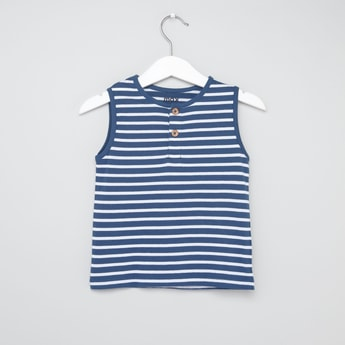 Striped Henley Neck Sleeveless Vest