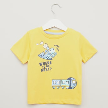 Train Print T-shirt with Short Sleeves