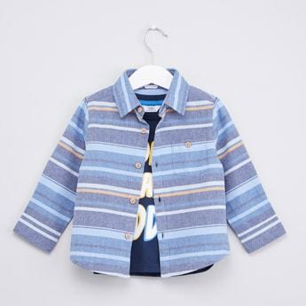 Striped Long Sleeve Shirt and Printed T-shirt Set