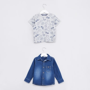 Printed Short Sleeves T-shirt with Denim Long Sleeves Shirt