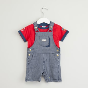 Stripe Textured Dungaree Set