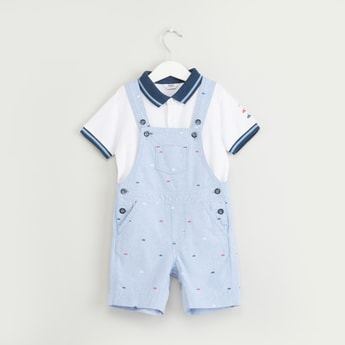 Printed Dungaree Set