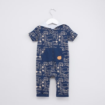 Vehicle Print Hooded Romper with Short Sleeves