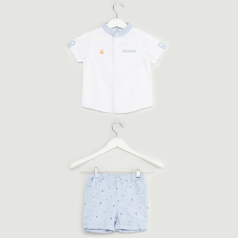 Solid Oxford Shirt with Pocket Detail Shorts