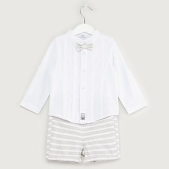 Long Sleeves Shirt with Bow Applique and Striped Shorts