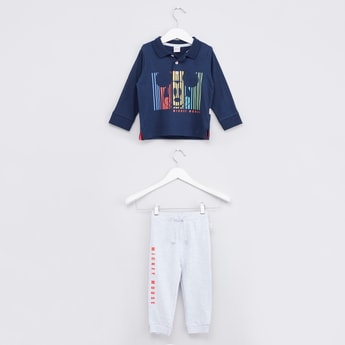 Mickey Mouse Printed Polo Neck T-shirt with Printed Jog Pants